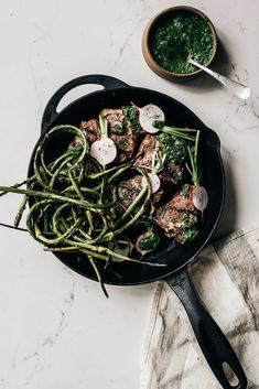 Grilled Lamb Chops with Arugula Chimichurri & Charred Garlic Scapes - Dishing Up the Dirt