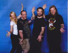 """Me with Deborah Ann Woll, Charlie Cox, and Eldon Henson from Netflix's Marvel's """"Daredevil"""". Wizard World Chicago, 2016."""
