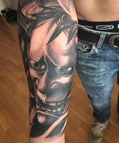 Tattoos - Hannya mask in black and grey - 119077
