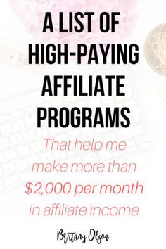 List of high paying affiliate programs with generous high commissions