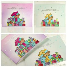 card critters bear MFT Beary special Birthday Die-namics A lot of gifts gift christmas card A set of birthday cards and it's (gasp) one layer! Lots of masking, coloring, and blending  #mftstamps
