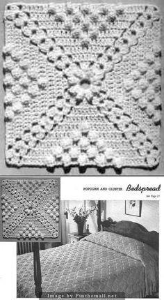 Popcorn & cluster bedspread block ~~ http://web.archive.org/web/20060515142629/http://members.tripod.com/CarolynMurphy/pcbs.html