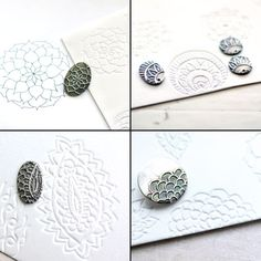 Press Rubber Stamps or Found Objects into Styrofoam Plates to make stamps - Precious metal jewellery decorated with zentangle doodles formed by pressing designs onto scratch foam board. Metal Clay Jewelry, Polymer Clay Jewelry, Clay Earrings, Silver Earrings, Biscuit, Clay Texture, Fimo Clay, Clay Beads, Precious Metal Clay