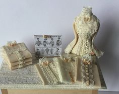 Handmade DollHouse 1:12 scale Miniature Ladies Shop Cream Lace Blouse Display Table