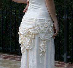 white bustle skirt | Jellyfish Bustle Skirt - in Cream - off white