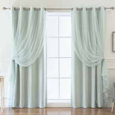 Darby Home Co Bedwell Sheer Solid Blackout Thermal Grommet Curtains Curtain Color: Mint Home Curtains, Grommet Curtains, Window Curtains, Curtain Panels, Sheer Curtains, Drapery, Stoff Design, Ideas Hogar, Thermal Curtains