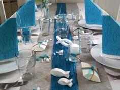SET: 20 Personen Tischdeko Fisch Petrol Grau Weiß Kommunion Konfirmation – Bild 3