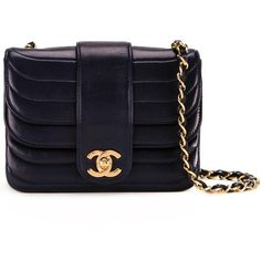 Chanel Vintage Mini CC Ruffled Shoulder Bag found on Polyvore featuring bags, handbags, shoulder bags, chanel, bolsas, chain shoulder bag, kiss-lock handbags, chanel shoulder bag, navy blue handbags and navy purse
