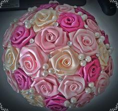 Ivory and Pink Satin Bouquet, Wedding Bridal Bouquet by PrettyArtBrazil on Etsy Broach Bouquet, Ribbon Bouquet, Rose Wedding Bouquet, Hand Bouquet, Diy Bouquet, Diy Wedding Flowers, Wedding Flower Arrangements, Bride Bouquets, Floral Bouquets