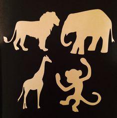 Safari Animal Shapes • Safari Themed Party Decor • Safari Tags • Zoo Animals • Lion • Monkey • Giraffe • Elephant • Set of 4 ~ Your choice!