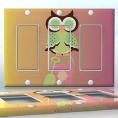 DIY Do It Yourself Home Decor - Easy to apply wall plate wraps | Summer Patchwork Owl #3 Napping owl on the beach wallplate skin sticker for 3 Gang Decora LightSwitch | On SALE now only $5.95