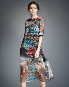 Grey Floral Printed Slit Silk Midi Elegant Dress
