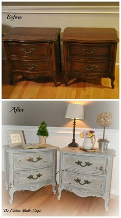 French Nightstands Makeover using Miss Mustards Seed's Trophy Gray and Grainsack.