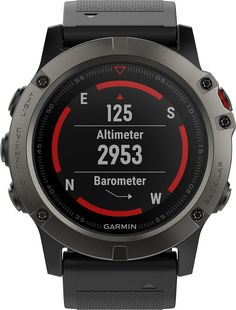 Garmin - fēnix® 5X Sapphire GPS Heart Rate Monitor Watch - Slate Gray with Black Band