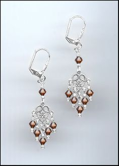 Petite Silver Filigree Earrings made with Swarovski COFFEE BROWN Crystals #Handmade #DropDangle