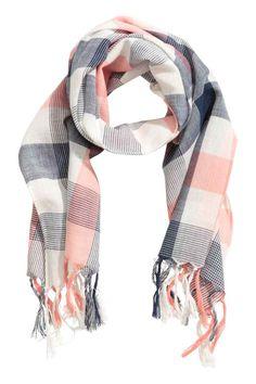 Checked scarf - White/Dark blue - Kids | H&M 1