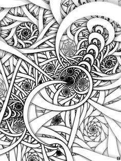 fractal design coloring pages gianfreda 328327 Zentangle Drawings, Doodles Zentangles, Zentangle Patterns, Doodle Drawings, Doodle Art, Doodle Patterns, Tangle Doodle, Tangle Art, Fractal Design