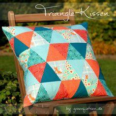 greenfietsen: Triangle Pillow | Patchwork-Kissen mit Dreiecken