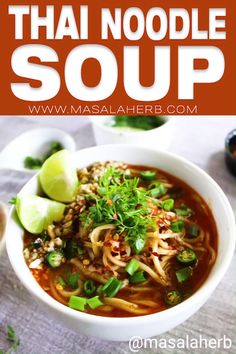 Spicy Thai Noodle Soup Recipe - healthy Thai soup with coconut milk red curry paste, vegetable Thai curry soup, Asian no Spicy Thai Noodle Soup Recipe, Thai Noodle Soups, Spicy Thai Noodles, Spicy Soup, Healthy Soup Recipes, Spicy Recipes, Indian Food Recipes, Asian Recipes, Ethnic Recipes