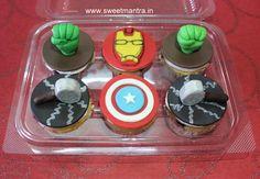 Avengers Superheroes Hulk, Thor, Iron Man, Captain America theme customized eggless designer 3D fondant cupcakes for kid's birthday at Baner, Pune