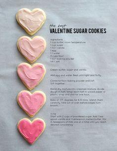Valentine Desserts, Valentine Sugar Cookie Recipe, Valentines Day Treats, Valentine Cookies, Holiday Treats, Holiday Recipes, Best Sugar Cookie Recipe, Valentines Baking, Icing For Sugar Cookies