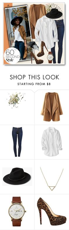 """""""New York--60 Second Style"""" by xoxomaddiegirl ❤ liked on Polyvore featuring Topshop, Frame Denim, MANGO, Banana Republic, Triwa, Christian Louboutin and Gorgeous Cosmetics"""