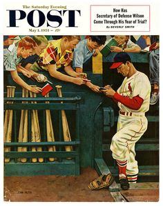 May, Saturday Evening Post cover by John Falter. Falter was born in Plattsmouth, Nebraska and he had a good feel for the American way of life in small midwestern towns. He created 123 covers for The Saturday Evening Post. St Louis Baseball, St Louis Cardinals Baseball, Baseball Art, Stl Cardinals, Baseball Stuff, Cardinals Players, Baseball Classic, Baseball Teams, Baseball Signs