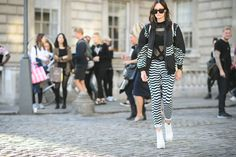 Jagged edges made black-and-white striped pants look modern.