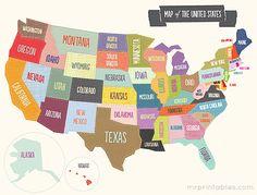 Free printable maps of the USA.