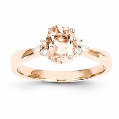 – Metal Material: Rose Gold (Solid) – – Genuine Diamond – Prong Set – Genuine Morganite – Open Back – Polished Finish Width of mm Ring Top Ring Top Stone Type: Di Pretty Rings, Beautiful Rings, Gold Gold, Bling Bling, Diamond Rings, Gold Rings, Diamond Stone, Uncut Diamond, Diamond Jewellery