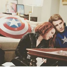 I have this headcanon that once Nat lets you in, you're hers for life. She'll wear your clothes, feed you off of her plate and steal from yours, sit on your lap, make you lie with your head in hers so she can run her fingers through your hair. Hq Marvel, Marvel Dc Comics, Marvel Heroes, Marvel Movies, Capitan America Chris Evans, Chris Evans Captain America, Harley Y Joker, Marvel Couples, Black Widow Scarlett