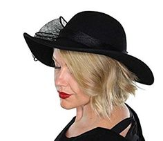 Evelyn Wool Bucket Hat Wide Brim Vintage Cloche Flapper Tea Party Derby Church with Flower (Black) at Amazon Women's Clothing store: