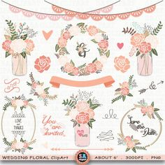 "Wedding Clipart ""WEDDING FLORAL"" clip art ,Vintage Flowers,Floral Frames,Wreath,Mason Jar Clipart,Wedding Flora,Wedding invitation Wf0676 by SAClipArt on Etsy"