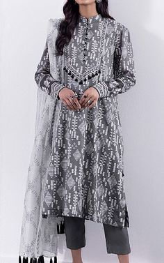 Pakistani Lawn Suits, Suits Online Shopping, Pakistani Designers, Famous Brands, Sapphire, Kimono Top, Fashion Dresses, Tunic Tops, Grey