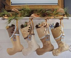 POST Christmas Delivery - Christmas Stockings in Wheat, Khaki, Golds and Hazy Blues on Etsy, $33.88 CAD