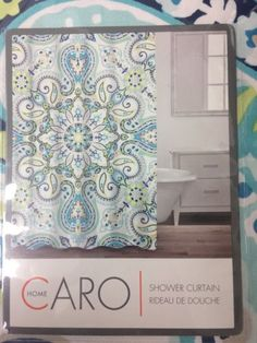 Caro Home Bohemian Mandala Medallion Cotton Shower Curtain Green Blue White