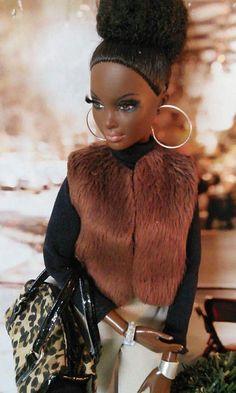 Black Barbie with fur vest African American Beauty, African American Dolls, Diva Dolls, Dolls Dolls, Barbies Dolls, African Dolls, Poppy Parker, Beautiful Barbie Dolls, My Black Is Beautiful