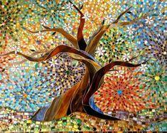 Muliticoloured Tree of Life hälsningskort - Mosaic Art - Tree of Life Card - glasmosaik Tree Stained Glass Tree Konsttryck - Oak Tree Art Mosaic Wall, Mosaic Glass, Mosaic Tiles, Stained Glass, Glass Art, Glass Tiles, Mosaics, Gaudi Mosaic, Mosaic Designs