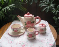 Personalied Pretty in Pink .Tea Party Set ) Hand thrown and hand painted, Made in the USA Tea Party Setting, Pretty In Pink, Little Ones, Tea Pots, Pottery, Hand Painted, Ceramics, Art Prints, Usa