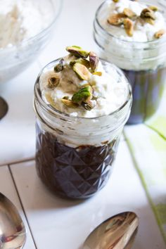 Chocolate Pudding with Salted Pistachio Whipped Cream {Pedantic Foodie}