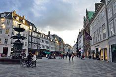 Strøget in Copenhagen-- the walking street at Amagertorv.