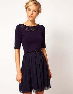 ASOS Skater Dress With Daisy Cutwork And Belt