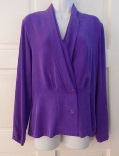 CLASSIQUES FOR NORDSTROM  blouse purple sz s long sleeve silk career