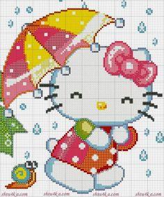 hello kitty in rain Cross Stitch Baby, Cross Stitch Animals, Counted Cross Stitch Patterns, Cross Stitch Charts, Cross Stitch Designs, Cross Stitch Embroidery, Embroidery Patterns, Hello Kitty, Modele Pixel Art