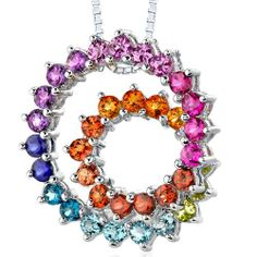 Amazon.com: Sterling Silver Rhodium Nickel Finish 5.00 carats total weight Round shape Rainbow Color Double Swirl Pendant Necklace: Peora: J...