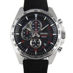 Seiko Mens Motorsport Black Chronograph Rubber Strap Watch - First Class Watches™ Seiko Diver, Valentines Day For Men, Watch Master, Timing Is Everything, Seiko Watches, Red Accents, Sport, Casio Watch, Stainless Steel Case