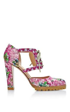 Alexa Printed Satin Lace-Up Booties by Mary Katrantzou Now Available on Moda Operandi