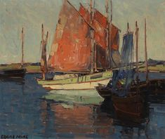 Red Sails, French Tuna Boats By Edgar Payne . Truly Art Offers Giclee Unframed Prints on Paper, Canvas Art, and Framed Art in all our Collections. Dundee, Sailboat Art, Sailboats, Tuna Boat, Edgar Payne, Environment Painting, Western Landscape, Landscape Artwork, Paintings I Love