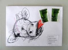 ♥♥ ✉ Helping to stick the stamps. Another envelope where the postage is an integral part of the whole art effort. ✉ Snail mail art at its best.