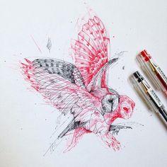 """OWL MOTION""  Alfred Basha   #ink #tattoo #drawing #illustration"